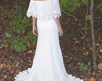 "Bohemian, Off The Shoulder Gown, Chiffon Wedding Dress, BOHO Bride - ""Phiffer"""