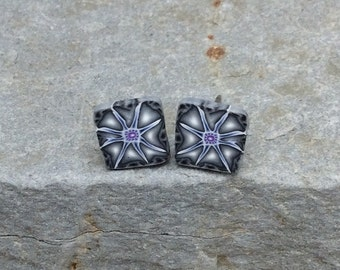 Shades of Gray, Navy, Violet, Eight Pointed Star, Polymer Clay, Millefiori Square Post, Nickel-Free Earrings