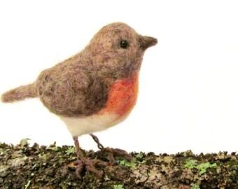 Robin, Needle Felted Bird, Brown and Orange, Bird, Woodland Decor, Nature Display, Bird Collection, Fiber Art Bird