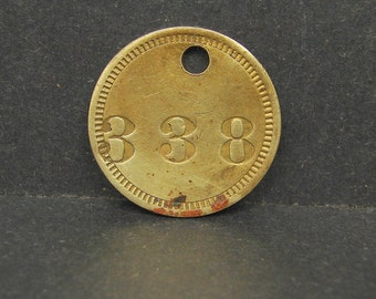 Antique Vintage Brass Tool Check Tag #338 Token Coin Motel Room Retro Keychain Key Ring Fob