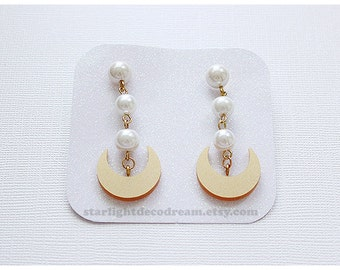 MADE to ORDER Crescent Moon Earrings Sailor Moon Inspired Laser Cut Acrylic for Mahou Kei, Cosplay, Magical Girl Fashion