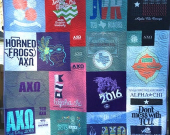 Mosaic T-Shirt Quilt, T-shirt Quilts, T Shirt Quilt, T Shirt Blanket, Memory Quilt, Graduation Gift, Custom TShirt Quilt