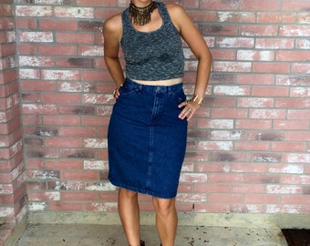 VTG 90's High-waisted Liz Wear Denim Pencil Skirt