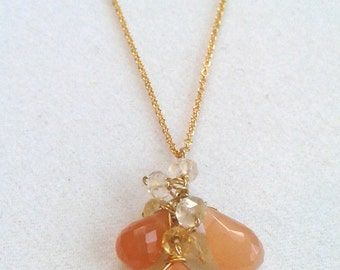 Peach Moonstone Gemstone Bouquet Necklace with Citrine - Cluster Necklace - Gold Filled - Peach and Gold - Bridal Jewelry