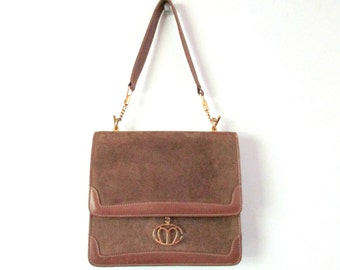 Vintage Purse Suede and Leather Shoulder Bag by Mark Cross Sleek Modern Handbag Goldtone Metal Top Handle Taupe Brown Italy