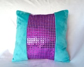 Glitter Pillow Cover - Teal with Magenta