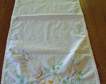 Lovely Butterfly Runner / Table Runner / Hand Embroidered Butterfly Runner / Blue Flowers & Butterflies / White Cotton Runner / Vintage