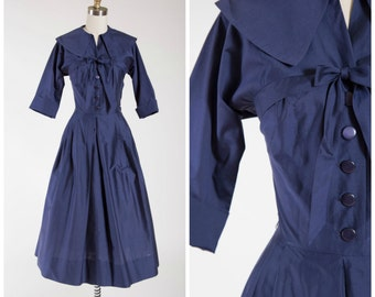 Vintage 1950s Dress • Freedom Bell • Navy Blue Cotton 50s Shirtwaist Dress Size Small