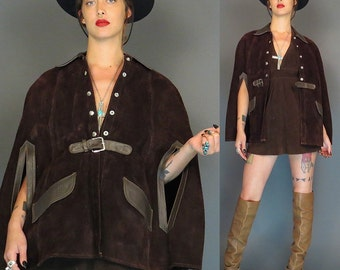 vintage 70s brown suede and leather mod cape // hippie poncho // boho coat