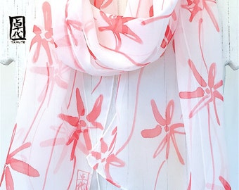 Silk Scarf Handpainted, Gift for her, Red and White Scarf, Red Wildflowers Spring Scarf, Silk Scarves Takuyo, Silk Chiffon, 11x60 inches.