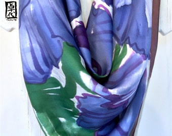 Silk Scarf Square, Hand painted Silk Scarf, Blue, Purple Japanese Poppies Scarf, Square Silk Scarf, Charmeuse, Takuyo, 35x35 inches