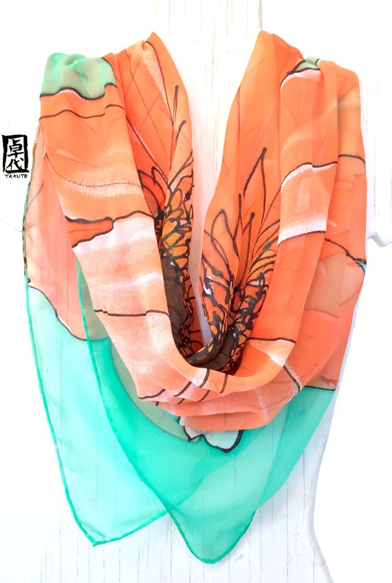 Large Silk Scarf Square, ETSY ASAP, Hand Painted Silk Scarf, Spring Scarf, Mothers Day Gift, Orange and Mint Garbera Daisy Scarf, 34x34 in