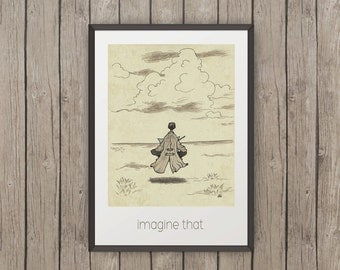 Imagine That, Art Print, Instant Download Art, painting for christmas, zen art, drawing poster, sketchy stories, inspiring painting, retro