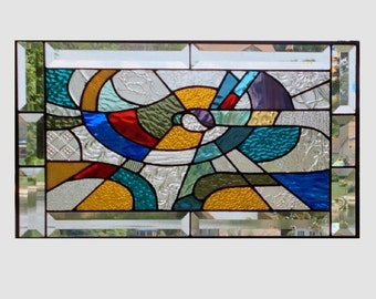 Stained glass panel window Abstract geometric multi color stained glass window panel window hanging colorful 0101 19 1/4 x 11 1/4