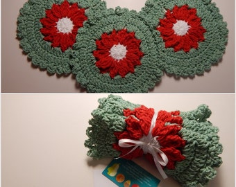Crochet Dishcloth Gift Set – Includes Gift Card – Flower - Christmas Poinsettia