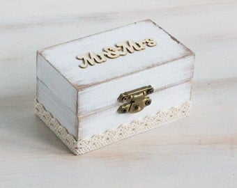White Ring Bearer Box Mr & Mrs Wedding Box Rustic Ring Box Custom Ring Box White Ring Holder Proposal Ring Box Maid Of Honor Engagement Box