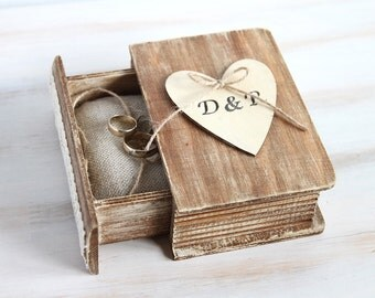 Rustic Wedding Box Ring Bearer Box  Personalized Ring Box Еngagement Ring box with Pillow Wedding Ring Holder Custom Box Book Box