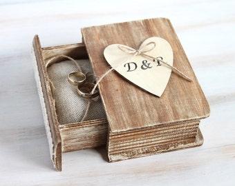 Rustic wedding box, Ring bearer box, Personalized ring box, Engagement ring box with Pillow, Wedding ring holder, Custom ring box, Book Box