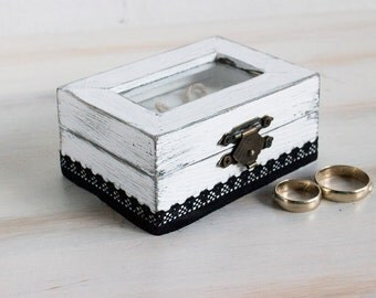 Rustic Ring Bearer Box White Wedding Ring Box Glass Еngagement box White Ring Box Pillow Alternative Wedding Ring Holder Rustic Ring Box