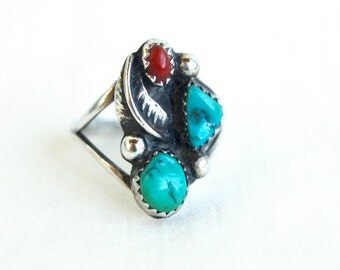 Turquoise Red Coral Ring Size 7 Vintage Sterling Silver Southwestern Boho Jewelry
