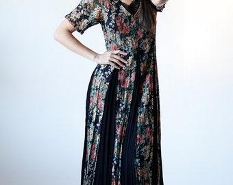 Vintage 90s Hippie Boho Black Floral Revival Grunge Maxi Dress size Medium - R1 #8
