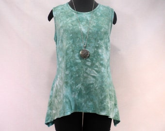 Size XL sea glass green tie dye tank top with round neck in bamboo/cotton/spandex stretchy knit fabric.