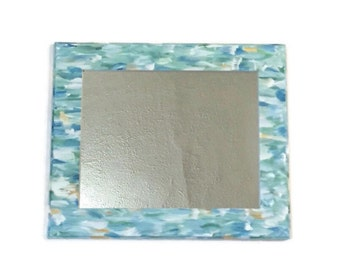 Sky Blue Mirror, Sea Glass Decorative Mirror. Hanging Light Turquoise Mirror,  Decorative Bathroom