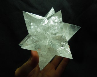 STELLATED DODECAHEDRON, 12 Sided Quartz Star, Sacred Geometry, Merkaba