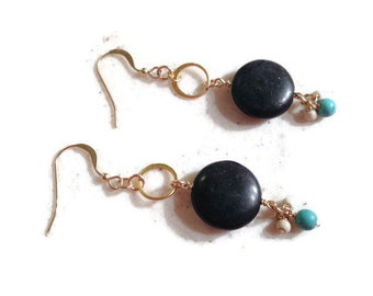 Turquoise Earrings - Black White Jewelry - Gold Jewellery - Dangle - Mod - Fashion - Gemstone