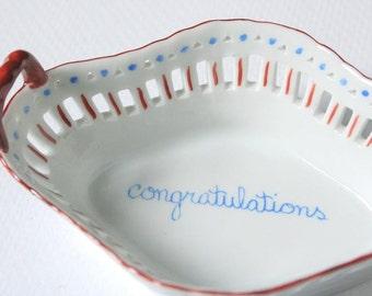 Porcelain basket, congratulations, Hand painted porcelain