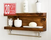 Bathroom Shelf With Towel Bar - Metal Hooks - Modern Rustic Decor - Wall Hanging - Cottage - Shabby Chic - Industrial - Reclaimed - Salvaged