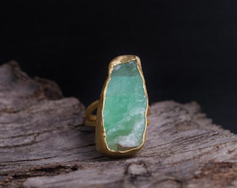 Raw Calcite Ring -Gold Plated Mint Gemstone Ring-Sterling Silver Green Calcite Ring-Statement Rings-Sea Foam Rough Stone Ring-Boho Chic Ring