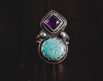 RESERVED for Helena-Natural Kingman Turquoise Ring-Sterling Silver Turquoise Ring-Amethyst Ring-Gypsy Bohemian Silver Ring-Turquoise Jewelle