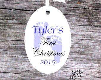 Footprint Christmas Ornament -Personalized Baby Boy Ornament - Baby's 1st Christmas Ornament