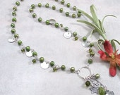 Green Freshwater Pearl, Swarovski Crystal, Peridot Jade Sterling Silver Necklace w/ Sterling Silver Ring Pendant & PMC Metal Clay Charms