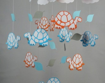 Turtle, Leaf and Cloud Baby Mobile