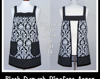 """Pinafore Apron, """"no tie apron"""" - Dottie Damask in Black & White, loose-fitting smock apron, made-to-order XS to Plus Size"""