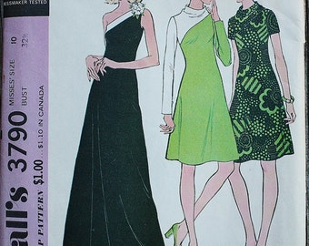 McCall 3790 1970s 70s Asymmetrical Off the Shoulder Knit Cocktail Dress or Evening Gown Vintage Sewing Pattern Size 10 Bust 32.5
