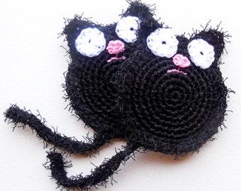Black Cat Pot Scrubber - Sets of 2 through 8 - Crochet Nylon Dish Scrubbies