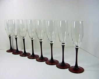 Vintage CHAMPAGNE FLUTES Red Stem Glasses Set/8 Holiday Christmas