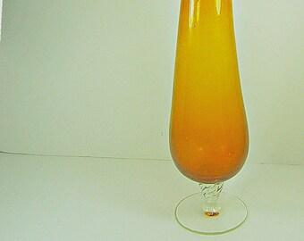 Vintage AMBER VASE Flower Glass Bubbles Retro Home Decor