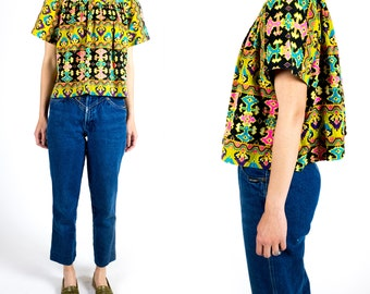 Vintage 1970s Bright Tribal Print Upcycled Peasant Flutter Blouse Cropped Any Size XS Extra Small S Small M Medium L Large