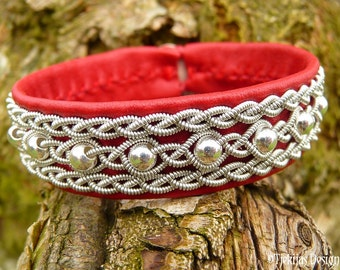 Sami Bracelet YDUN Red Reindeer Leather Cuff Nordic Lapland Bracelet with Sterling Silver Beads - Handcrafted Norse Folklore