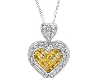 Yellow Sapphire Heart Diamond Pendant Necklace in 14k White Gold | ready to ship!