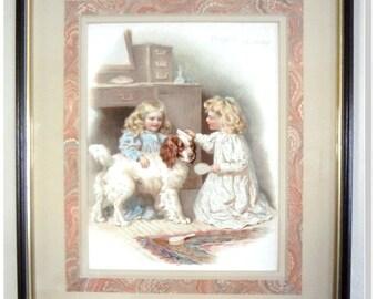 Children's, Antique,Print, Victorian,Dog,Spaniel,-Harriet M. Bennett Doggie's Birthday Nister  Dutton NY & London ca 1895 Framed