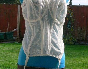 white   boned strapless sheer Corset size 42ddd