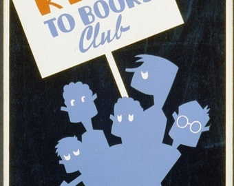 Be Kind to Books vintage book promotion poster digital download