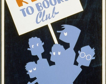 Be Kind to Books vintage book promotion poster digital download