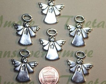 7 pcs per pack 31x26mm Angel Charms Antique Silver Lead free Pewter.