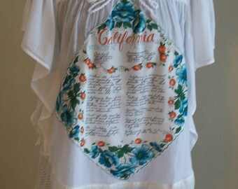 White Bohemian Blouse with Lace & Vintage California Hankie - Altered Clothing Junk Gypsy - Large